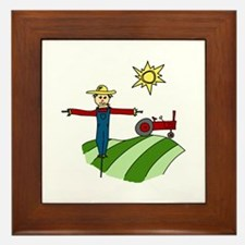 Scarecrow Tractor Sunflower Framed Tile