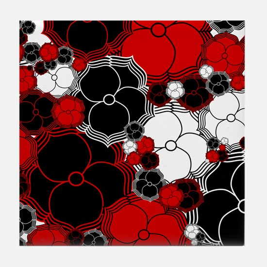 Fantasy Flower Motif Tile Coaster