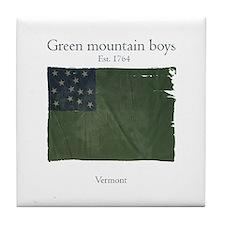 Green Mountain boys Tile Coaster