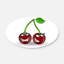 Cherry Trouble Oval Car Magnet