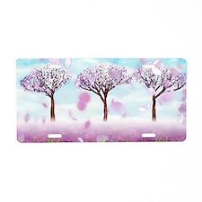 Sakurama - Cherry trees Aluminum License Plate