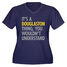 Douglaston Q Women's Plus Size V-Neck Dark T-Shirt