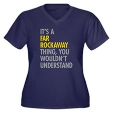 Far Rockaway Women's Plus Size V-Neck Dark T-Shirt