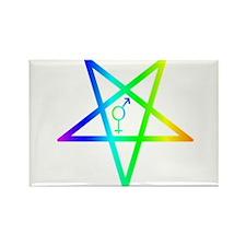 Female male transgender inverted pentagram Magnets