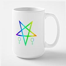 Female Symbol Beside of Inverted Rainbow Pentagram