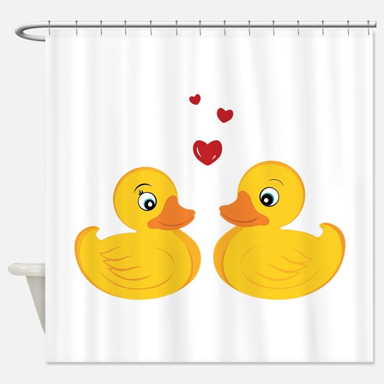 Rubber duck shower curtains rubber duck fabric shower for Duck bathroom accessories