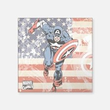 """Patriotic Captain America Square Sticker 3"""" x 3"""""""