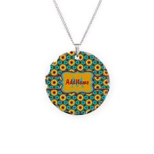 Teal and Yellow Sunflower Pa Necklace