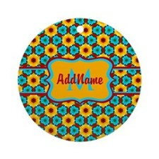 Teal and Yellow Sunflower Pattern Ornament (Round)