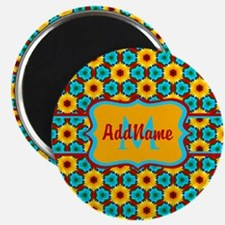 Teal and Yellow Sunflower Pattern Personali Magnet