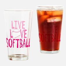 Live, Love, Softball Drinking Glass