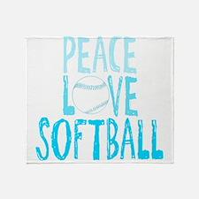 Peace, Love, Softball Throw Blanket