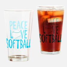 Peace, Love, Softball Drinking Glass