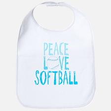 Peace, Love, Softball Bib