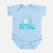Peace, Love, Softball Body Suit