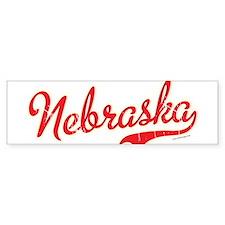 Nebraska Script VINTAGE Bumper Sticker