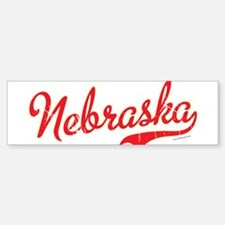 Nebraska Script VINTAGE Sticker (Bumper)
