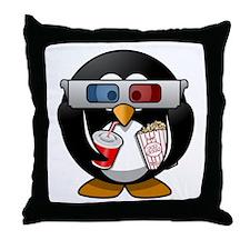 Cinema Penguin Throw Pillow