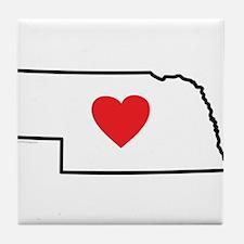 I Love Nebraska Tile Coaster