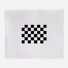 Black White Checkered Flag Throw Blanket
