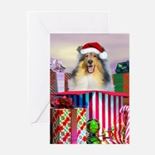 Collie Claus Greeting Cards (Pk of 10)
