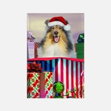 Collie Claus Rectangle Magnet