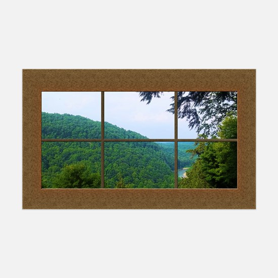 Fake Window Mural Mountain View Wall Decal