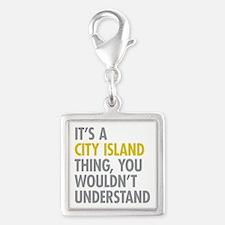 City Island Bronx NY Thing Silver Square Charm