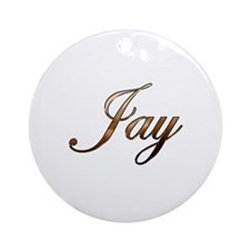 Gold Jay Round Ornament