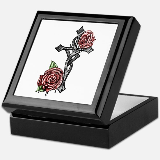 Blood and Roses Cross Keepsake Box