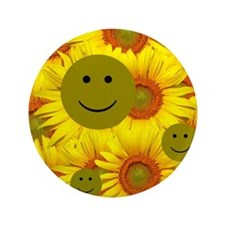 """Sunflowers Smiley Faces 3.5"""" Button"""
