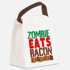 Zombie Eats Bacon Canvas Lunch Bag