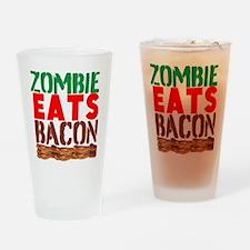 Zombie Eats Bacon Drinking Glass