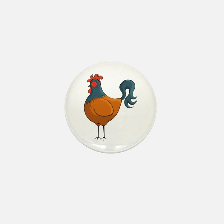 Cartoon Rolly Rooster Mini Button