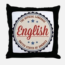 USA Official Language Throw Pillow
