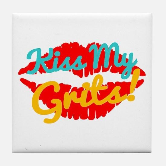 Kiss My Grits! Tile Coaster