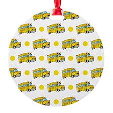 Cartoon School Bus, Yellow White Polka Dots Orname