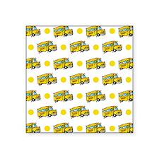 Cartoon School Bus, Yellow White Polka Dots Sticke