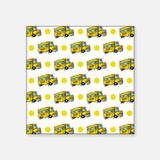 Cartoon School Bus, Yellow White Polka Dots Sticke