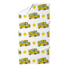 Cartoon School Bus, Yellow White Polka Dots Beach