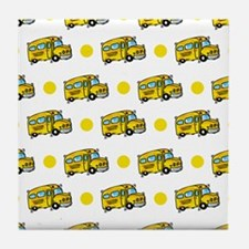 Cartoon School Bus, Yellow White Polka Dots Tile C