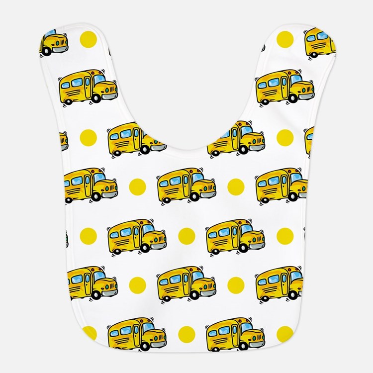 Cartoon School Bus, Yellow White Polka Dots Bib
