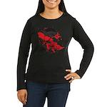 Blood Skull Women's Long Sleeve Dark T-Shirt