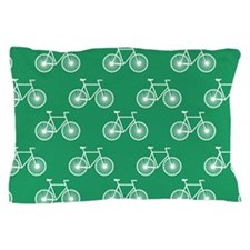 White Bicycle, Cycling Pattern; Kelly Green Pillow