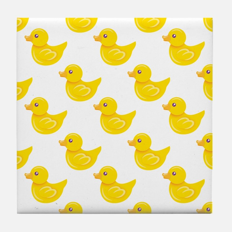 Yellow and White Rubber Duck, Ducky Tile Coaster