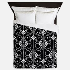 Art Deco, Black, White, Silver Retro Queen Duvet