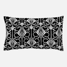 Art Deco, Black, White, Silver Retro Pillow Case