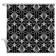 Art Deco, Black, White, Silver Retro Shower Curtai
