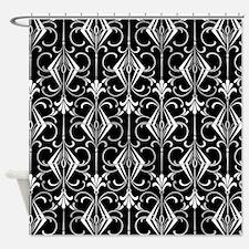 Art Deco, Black, White, Silver Retro Shower Curtai