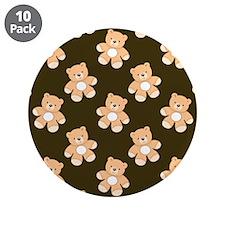 "Brown Teddy Bear Pattern 3.5"" Button (10 pack)"